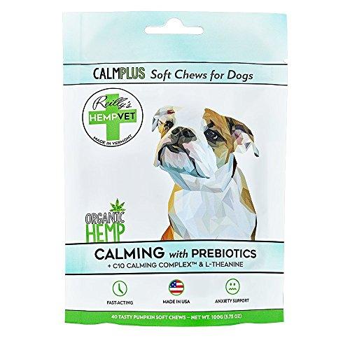 Reilly's HempVet CALMPLUS Soft Chews, Dog Stress Relief, Calming Anti-Anxiety Pills for Dogs, Organic Hemp, Pumpkin Flavor Treats, 40 Count