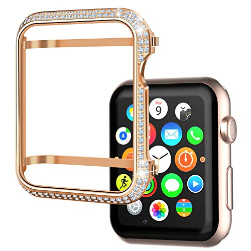 Srotek Diamond Watch Case Handcrafted Zircon Watch Bumper Gold-Plated 44mm Watch Bezel Cover Compatible with Apple Watch Series 4 for Men/Women (44mm,Rose Gold)