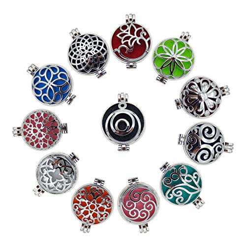 Wholesales 12pcs Mixed Silver 32mm Round Aromatherapy Pendant Locket Essential Oil Diffuser Necklace (Necklace Pendant Locket)