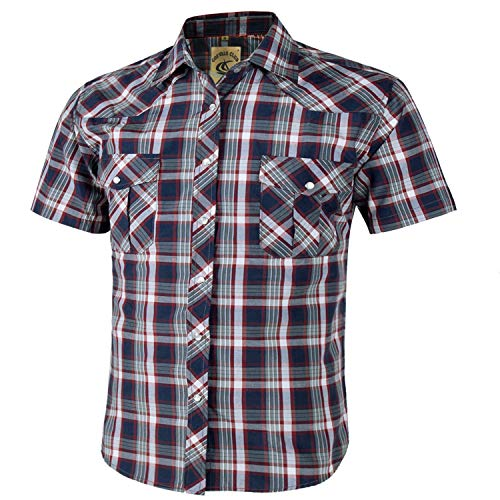 Coevals Club Men's Short Sleeve Casual Western Plaid Buttons Shirt (3XL, 3# Red,Gray)
