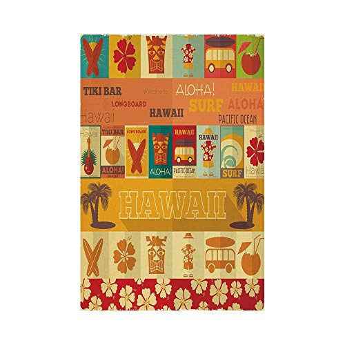 Polyester Garden Flag Outdoor Flag House Flag Banner,Tiki Bar Decor,Retro Travel Cards Collection Holiday in Hawaii Icons Summer Vintage Print Decorative,Multicolor,for Wedding Anniversary Home Outdoo