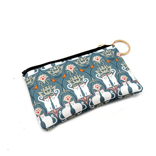 preliked Women Canvas Mini Coin Purse with Key Ring Cute Cat Pattern Card Holder Wallet (4#)