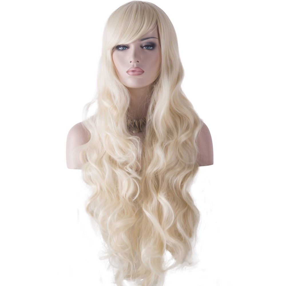 DAOTS 32 Cosplay Wigs Long Wig Hair Heat Resistant Curly Wave Hairs for Women (Black) 00102