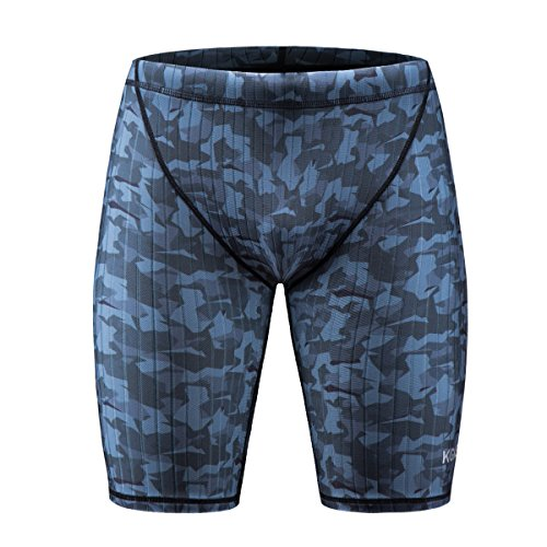 KGKE Men's Swim Jammers Compression Fashion Print Jammer Swimsuit Swim Boxer Long (M, Camo Strip) by KGKE