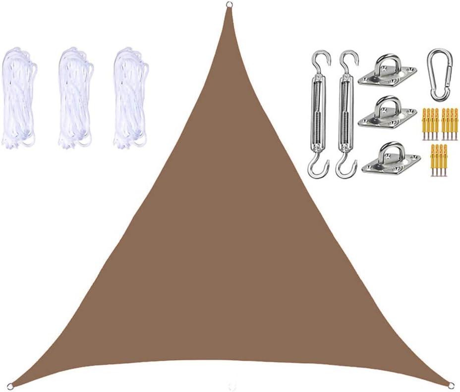 DDLL Toldo para jardín, toldo Triangular con Kit de fijación Resistente, 3 Cuerdas, Resistente al Agua, Anti-UV, toldos para Exterior, toldos para Patio, balcón,Marrón,5 x 5 x 5m