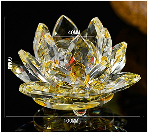 - Jiangsheng Crystal Hue Reflection Feng Shui Lotus Flower Ornaments with Gift Box (Size 2, Yellow)