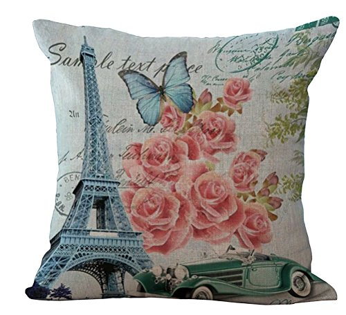 ChezMax Linen Blend Eiffel Tower Pattern Cushion Cover Cotto