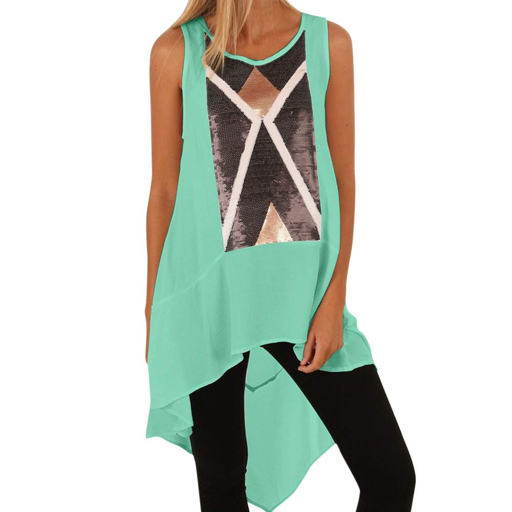 Women Chiffon Printing Cami Vest Shirt Sleeveless Hunting Top Tank Casual Scoop Neck Blouse Green