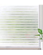 Rabbitgoo Window Blinds Window Clings Privacy Etched Glass Window Film Window Frosting Film Window Tint for Home Office Windows Frosted Stripe, 17.5 x 59 inches(44.5x150cm)