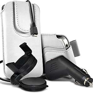 Samsung Galaxy Pocket Neo S55310 premium protección PU botón magnético ficha de extracción Slip espinal en bolsa de la cubierta de piel de bolsillo rápido con 12v USB Micro Cargador para el coche y 360 Sostenedor giratorio del parabrisas del coche Cuna Blanca por Spyrox