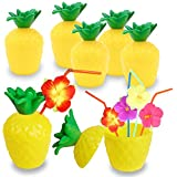 FuturePlusX Pineapple Cups, 12PCS Plastic Pineapple Cups with Lids and Straws for Luau Summer Hawaiian Party