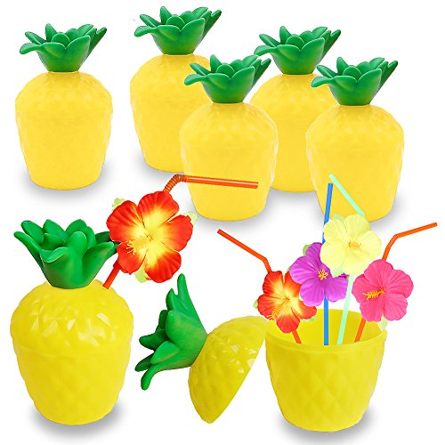 FuturePlusX 12PCS 10oz Pineapple Drink Cups with Flower Straws, Plastic Hawaii Party Cups Fun Drink Cups for Hawaiian Luau Summer Beach Events Children's Party