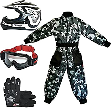 Leopard LEO-X17 Casco de Motocross para Niños + Gafas + Guantes + Traje de