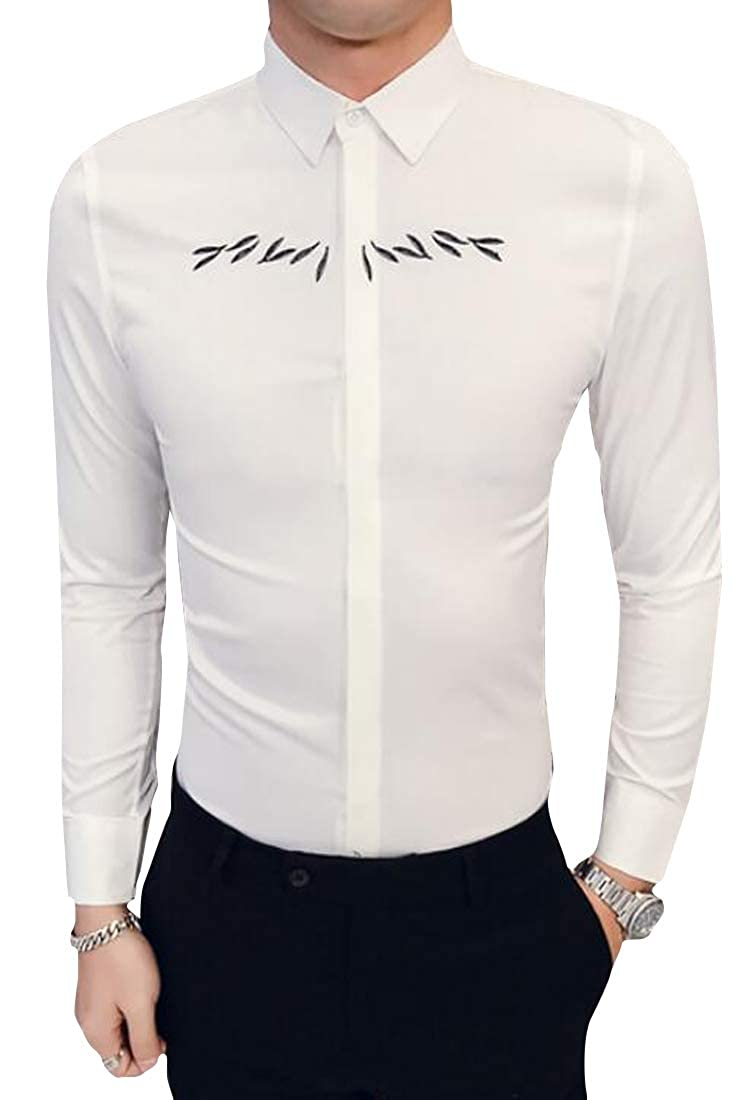 Domple Men Embroidery Long Sleeve Nightclub Business Regular Fit Button Down Dress Shirts
