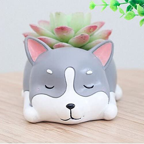 HEHEN Cute Animal Shaped Creative Cartoon Home Decoration Succulent Flower Pots Resin Plant Pot Husky Shaped Gray
