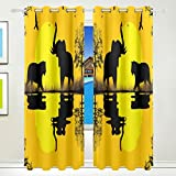 Vantaso Window Curtains 84 Inch Long Sunset Forest Animals Elephant for Kids Girls Boys Bedroom Living Room Light Shading Polyester 2 Pannels