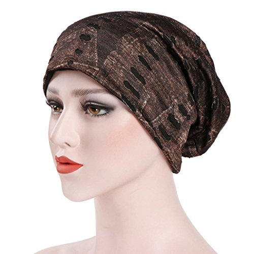 Clearance India Hat Muslim Ruffle Cancer Chemo Hat Beanie Scarf Turban Head Wrap Cap for Women/Ladies/Girls (Free Size, Brown)