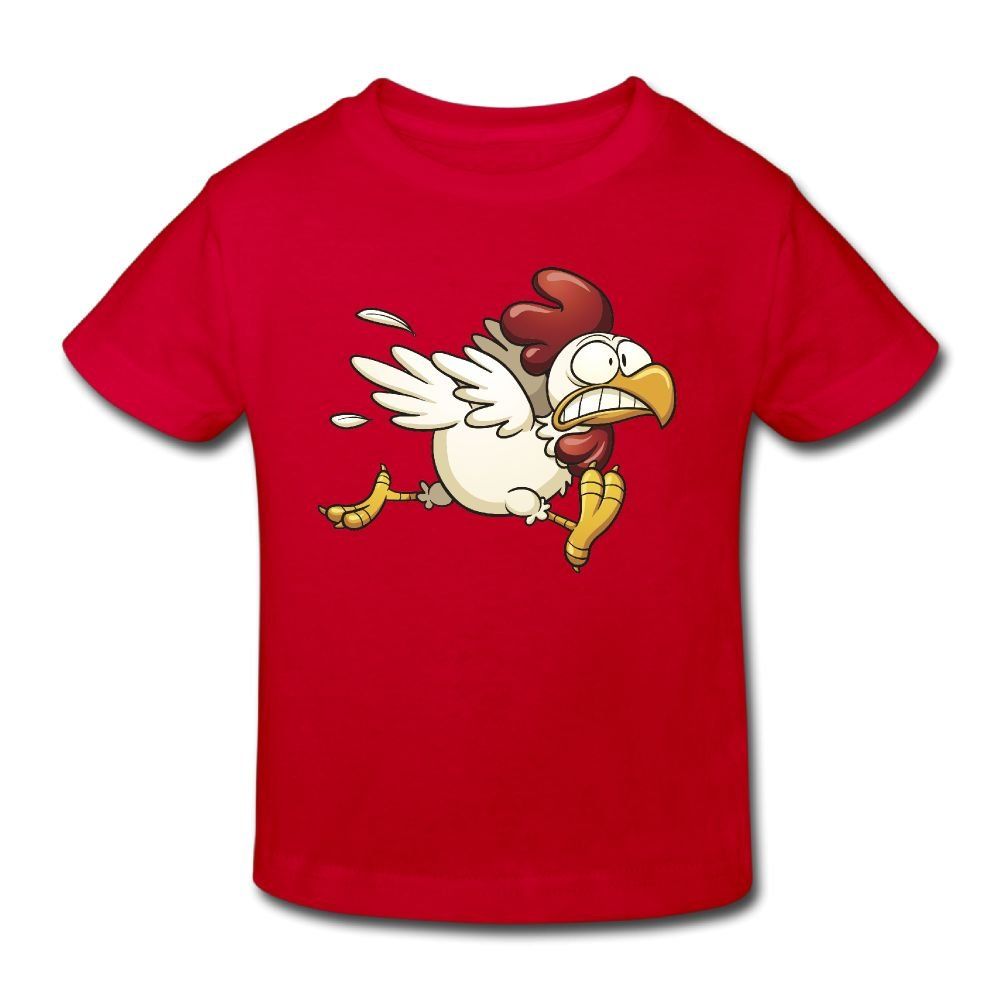Michgton Scared-Chicken Girl's Summer Crew Classic Shirt Short Sleeve for 2-6 Years