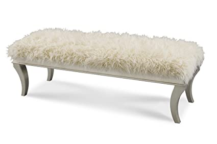 Michael Amini Hollywood Swank Bed Bench With Faux Sheepskin, Platinum