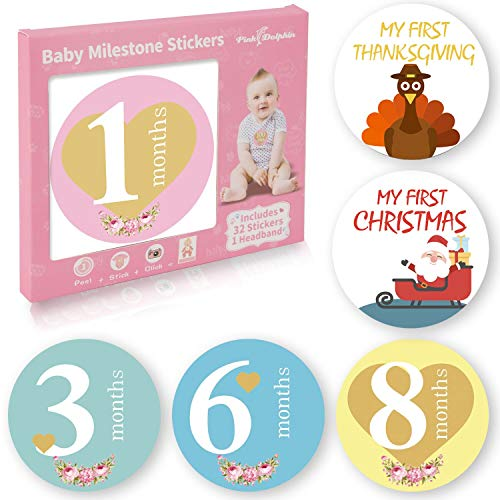 32 Pack Baby Monthly Milestone Stickers for Boys