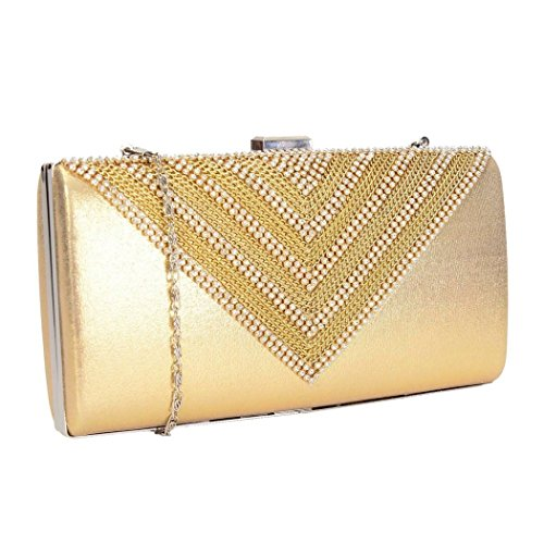 Party Clutch Diamantes Style Crystal Shaped Box With For Wedding Gold V Prom Bag School Ideal A P1xdww50q