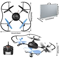 Arshiner H4810 rc quadcopter drone,25 Mins Long Flying Time 2.4Ghz 6-Axis Gyro 4 Channels Radio Remote control quadcopter drone with Altitude Hold Function,One key Return and 360 Degree roll(Black)