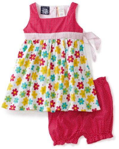 So La Vita Baby Girls' Flower and Dot Print Yoke Skirt, Pink, 24 Months