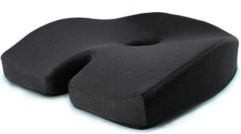 PLLXY Espuma de la Memoria Coche Cojín coxis ortopédico,Respirable Coche Cubiertas de Asiento Ventilado Cojines ortopédicos para elevar la Altura -Black-A 45 * 38 * 11cm(18 * 15 * 4in)