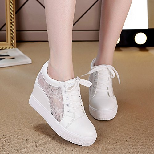 Sneakers White Lace Casual Uppers Platform Shoes Fashion Wedges Sneakers Internal Women's Breathable Increase 5qHZ7Efwf