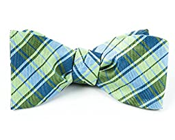 100% Woven Silk Apple Green and Light Cornflower Summer Plaid Self-Tie Bow Tie
