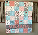Personalized Aqua Blue and Coral Woodland Baby Girl Quilt - Crib Size - Deer - Teepee