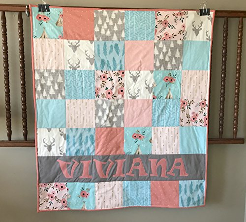 Personalized Aqua Blue and Coral Woodland Baby Girl Quilt - Crib Size - Deer - Teepee by Mickey's Creations
