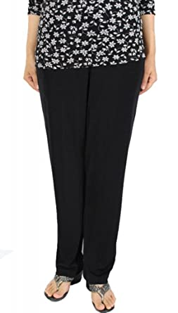 89c96ffb2b6e0 Calison Women s Poly Spandex Elastic Waist Casual Long Pants Made in USA  Black S