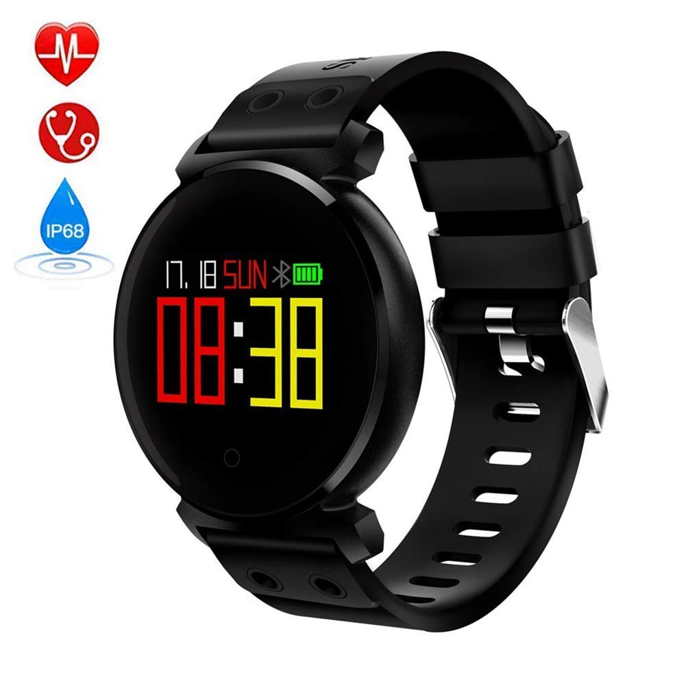 Fitness Tracker Waterproof Smart Watch for Men Women Outdoor Smart Sports Watch with Color Monitor Heart Rate Blood Pressure Blood Oxygen for Android and iOS,Black