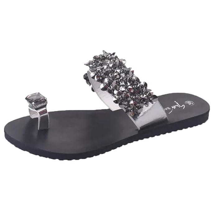 Zapatillas De Mujer Con Diamantes De ImitacióN Zapatos Con Punta Abierta Sandalias Planas Antideslizantes Para Damas De Bohemia Casual: Amazon.es: Ropa y ...