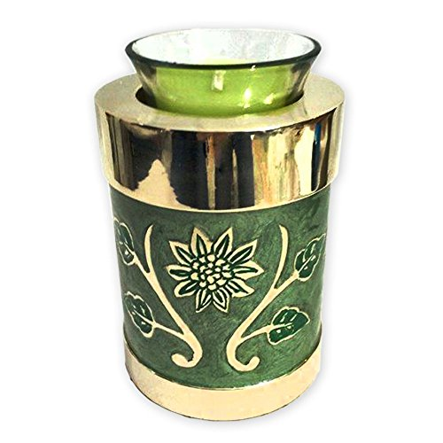 Beautiful Life Urns Green Garden Tealight – Keepsake Urn for Ashes – Small Size – NOT Intended for Full Cremation Ash Quantity