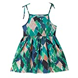 Kingspinner Girls Sundress Summer Sleeveless Floral Print Strap Princess Dress Beachwear Holiday Dress (Green, 12-18Months)