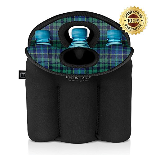 LONDON TAILOR Neoprene Bottle Tote Carrier Cooler - Holds a Six (6) Pack of Beer or Soda Bottles or Cans - Protects Glass from Damage - Insulated Like Coolers - Easy to Carry - GREEN PLAID DESIGN