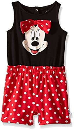 6ad008917 Amazon.com: Disney Baby Minnie Mouse Knit Romper with 3D Bow, Multi ...