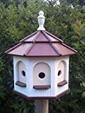 Amish homemade handcrafted Handmade Poly Gazebo Birdhouse yard White & Brown Large