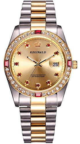 Luxury Unisex Watches Diamond Gold Watches Quartz Calendar Luminous Bezel Luxury Watch (Silver Gold 1)