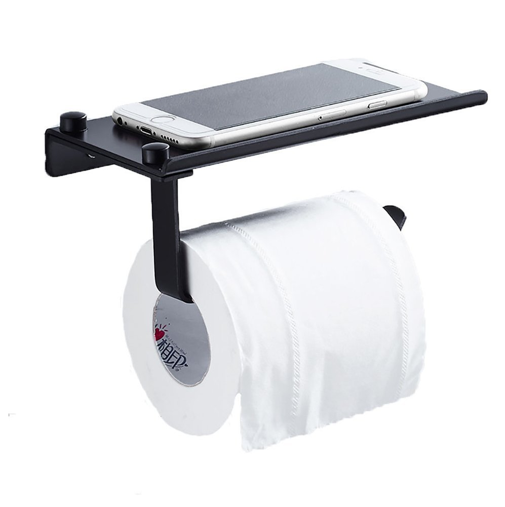 Q&F Wall Mounted Toilet Paper Holder Anti-rust Aluminum Toilet Tissue Dispenser With Large Space Shelf-punch Free