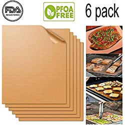 UCHO Copper Grill Mat(Set of 6)15.75x13''|FDA-Approved | Non-Stick, Durable, Washable & PFOA Free | For Baking, Grilling, BBQ, Charcoal, Electric, Gas, Oven, Outdoors, Meat, Veggies, Pizza & More