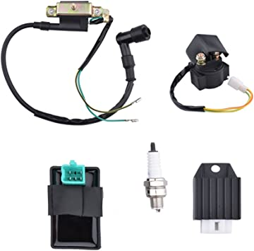 Racing CDI Box Ignition Coil for Motorcycle 50cc 70cc 90cc 110cc Pit Bike Scooter ATV 5 Pin CDI Box Ignition Coil Solenoid Relay Voltage Regulator