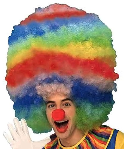 (Forum Rainbow Stripped Giant Clown Wig)