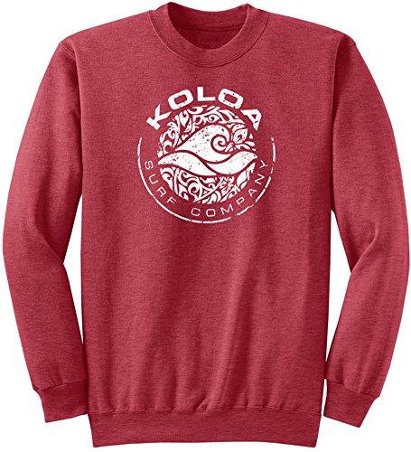 (Koloa Surf Circle Wave Logo Crewneck Sweatshirt - M-HeatherRed/w)
