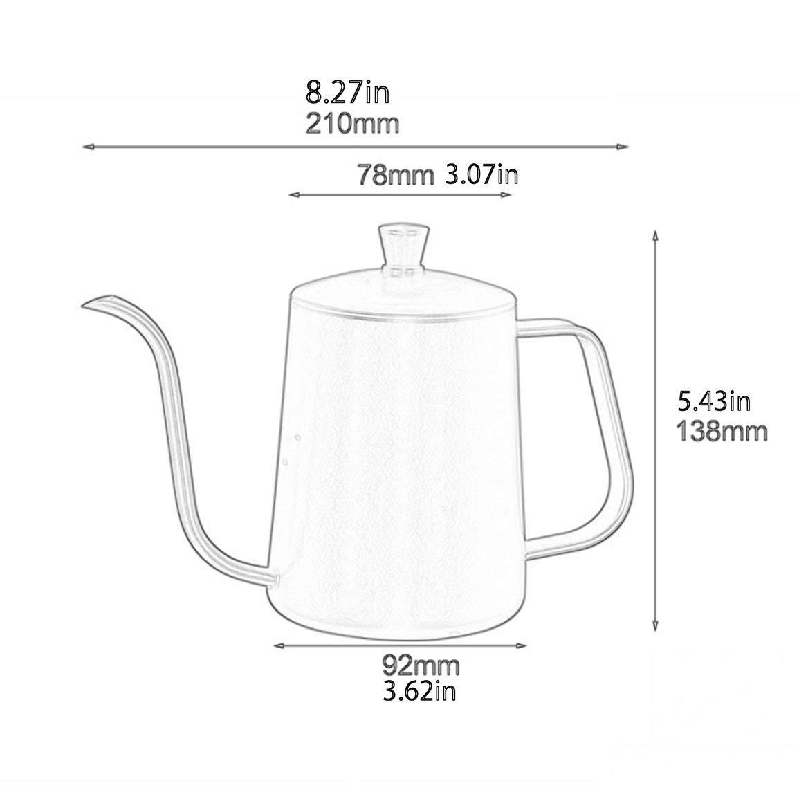 Bollitore per caff/è lungo beccuccio lungo in acciaio inossidabile Becco a collo di cigno Bollitore per caff/è con coperchio per cucina domestica Caffetteria Colore: nero