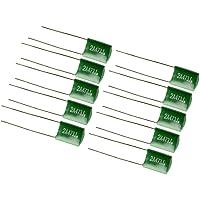 10 condensadores de película de poliéster verde