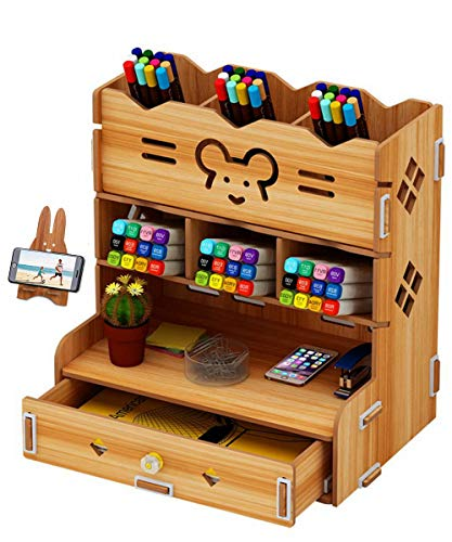 C&Life DIY Wooden Desk Organizer with Drawer, Pen Holder Box Desktop Stationary for Home Office School Supply Storage