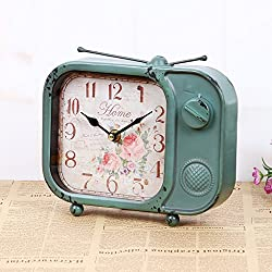 European Ultra-Quiet Alarm Clock Retro Design TV Iron Antique Simple Clock Classic Home Furnishings Creative Desk Clock,Lakeblue